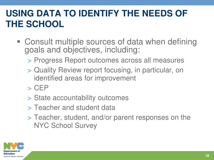 USING DATA TO IDENTIFY THE NEEDS OF THE SCHOOL