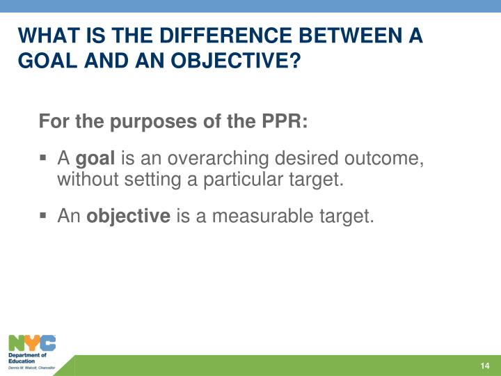 WHAT IS THE DIFFERENCE BETWEEN A GOAL AND AN OBJECTIVE?