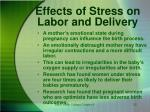 effects of stress on labor and delivery