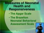 measures of neonatal health and responsiveness
