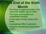 the end of the sixth month