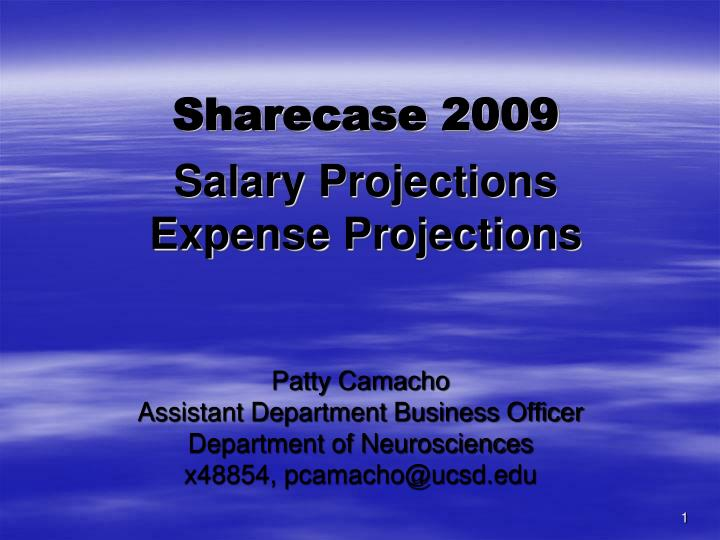 sharecase 2009 salary projections expense projections n.