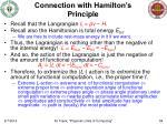 connection with hamilton s principle