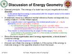 discussion of energy geometry
