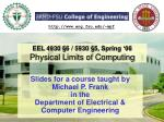 eel 4930 6 5930 5 spring 06 physical limits of computing
