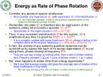 energy as rate of phase rotation