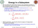 energy in a subsystem