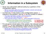 information in a subsystem