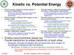 kinetic vs potential energy