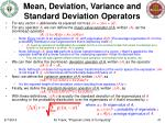 mean deviation variance and standard deviation operators