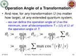 operation angle of a transformation