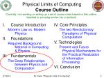 physical limits of computing course outline