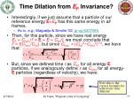 time dilation from e p invariance