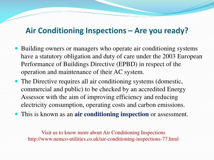 air conditioning inspections are you ready n.