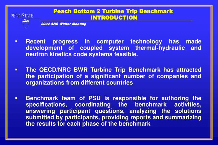 Peach bottom 2 turbine trip benchmark introduction