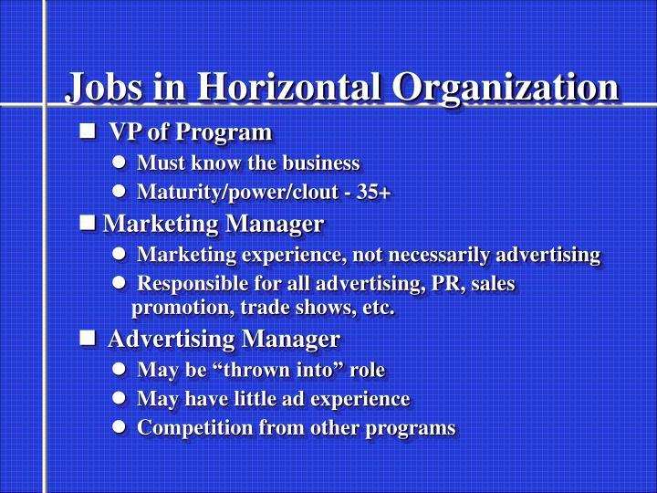 Jobs in Horizontal Organization