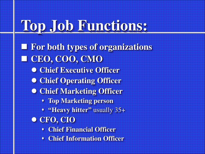 Top Job Functions: