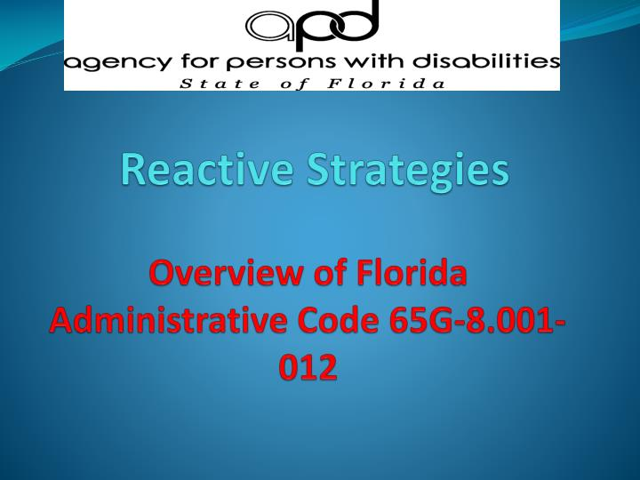 overview of florida administrative code 65g 8 001 012 n.