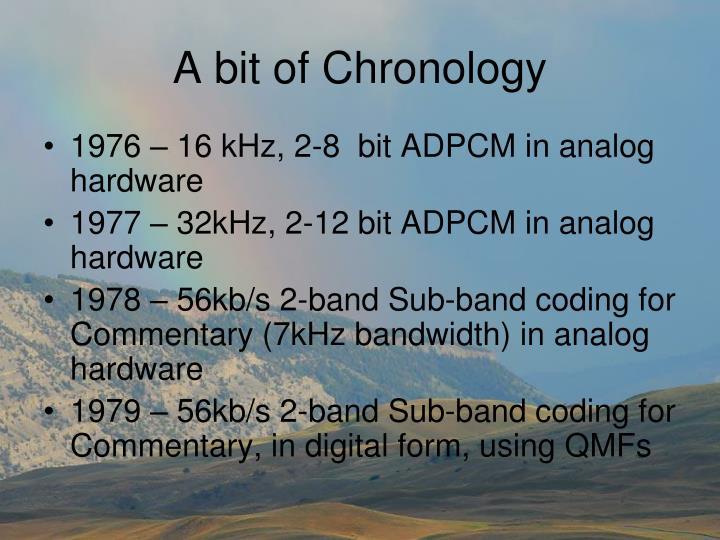 A bit of chronology