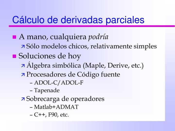Cálculo de derivadas parciales