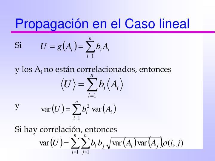 Propagación en el Caso lineal
