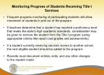 monitoring progress of students receiving title i services