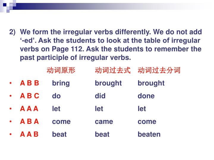 We form the irregular verbs differently. We do not add '-ed'. Ask the students to look at the table of irregular verbs on Page 112. Ask the students to remember the past participle of irregular verbs.