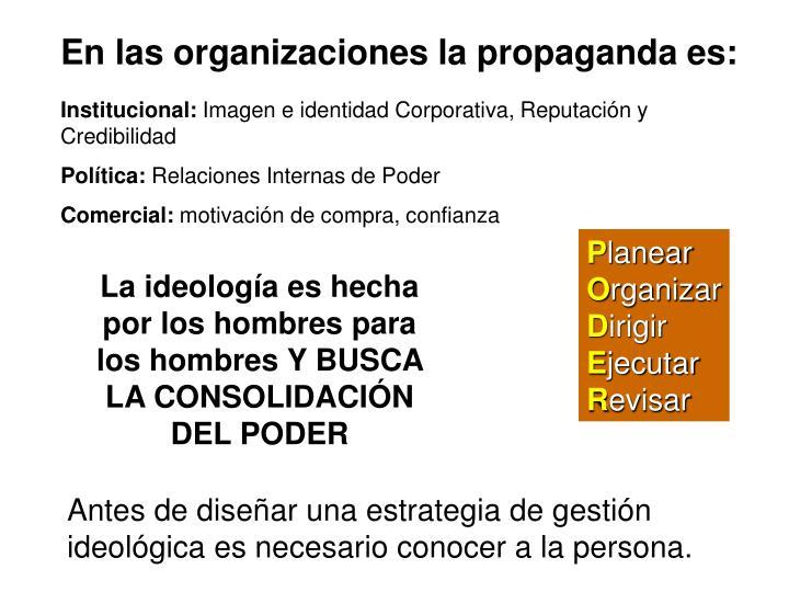 En las organizaciones la propaganda es: