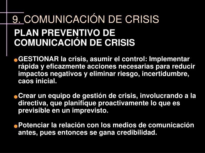 PLAN PREVENTIVO DE COMUNICACIÓN DE CRISIS