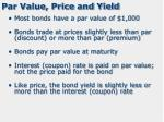 par value price and yield