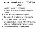 aryan invasion ca 1700 1300 bce