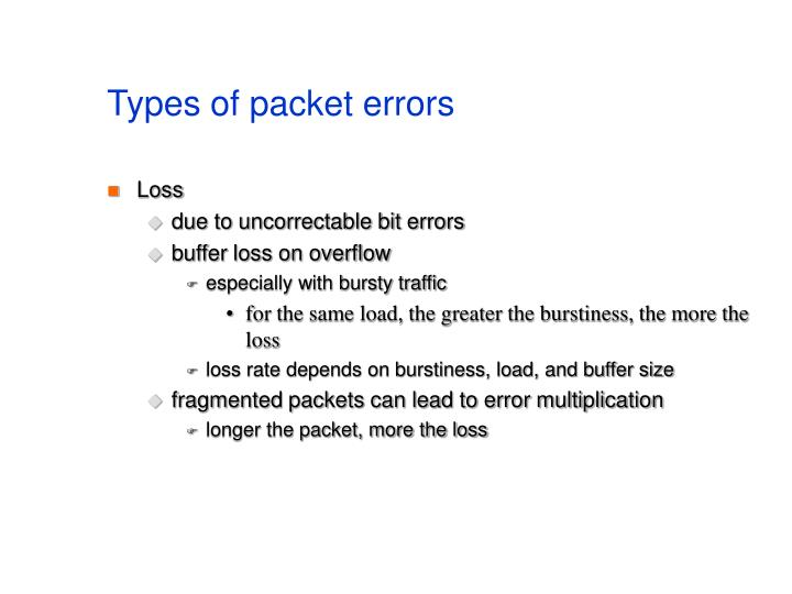 Types of packet errors