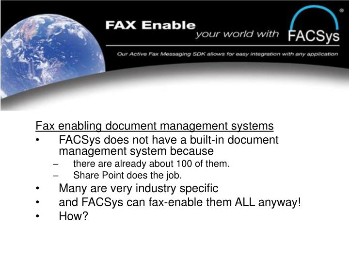 Fax enabling document management systems