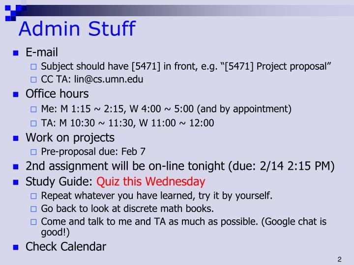 Admin stuff