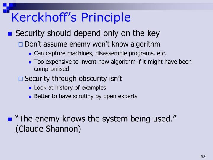 Kerckhoff's Principle