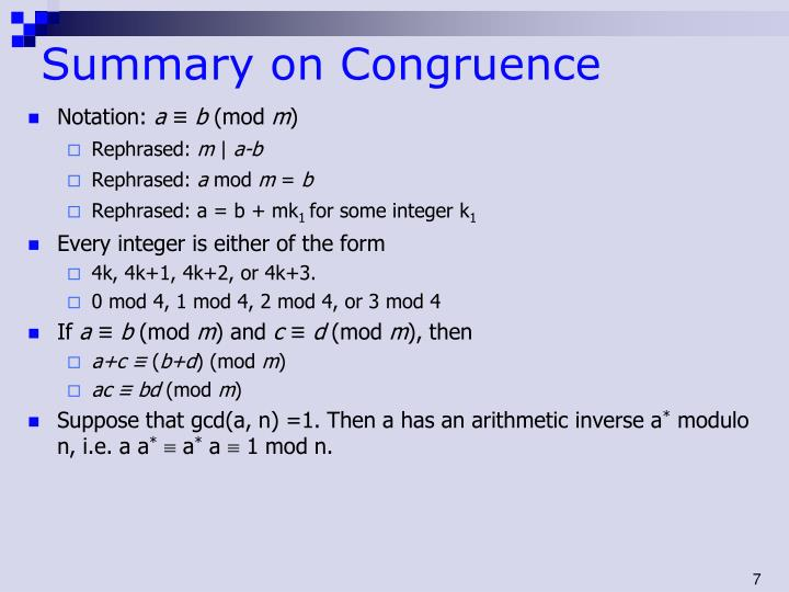 Summary on Congruence