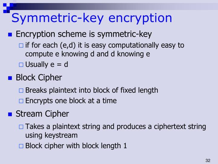 Symmetric-key encryption