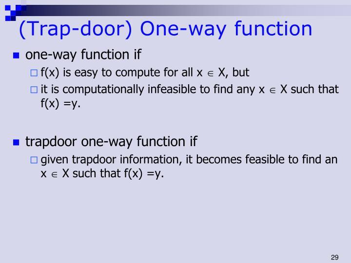 (Trap-door) One-way function