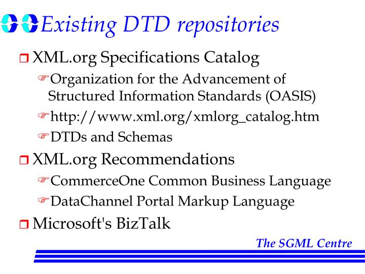 Existing DTD repositories