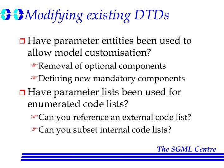 Modifying existing DTDs