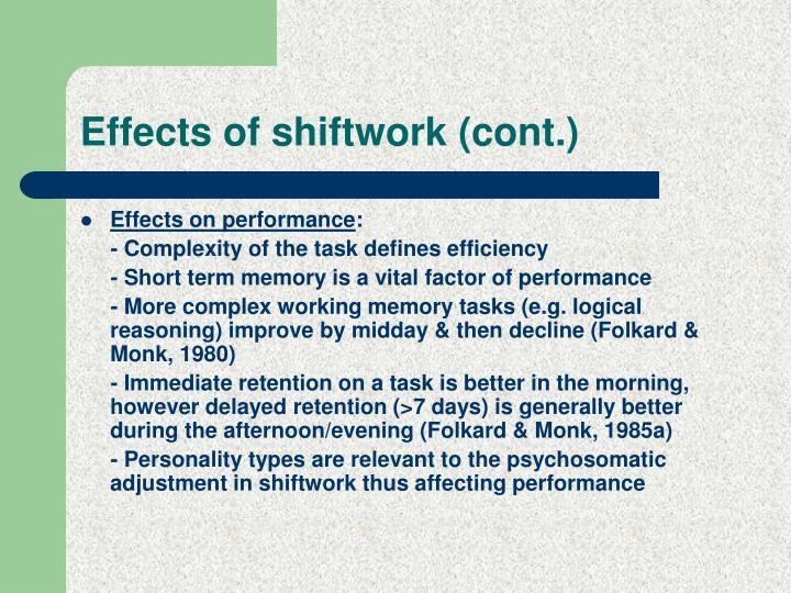 Effects of shiftwork (cont.)