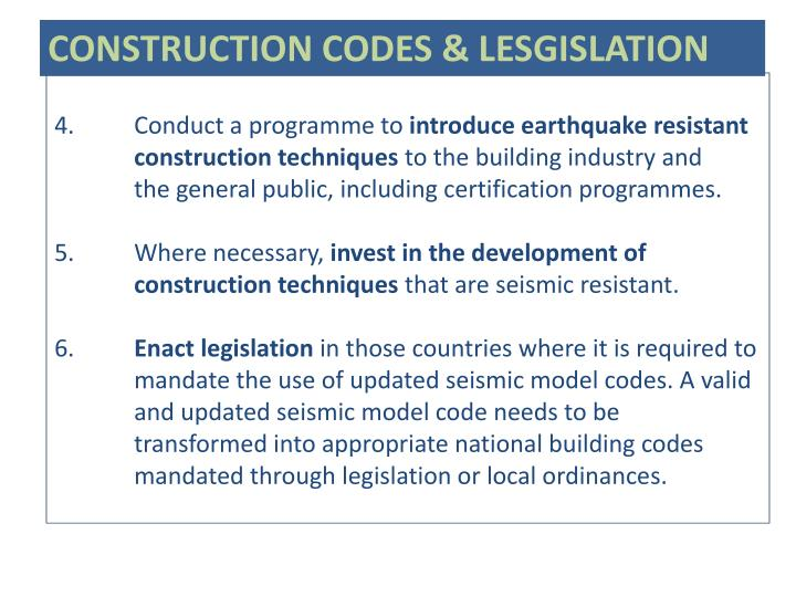 CONSTRUCTION CODES & LESGISLATION
