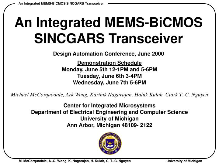 an integrated mems bicmos sincgars transceiver n.