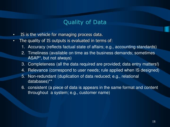 Quality of Data