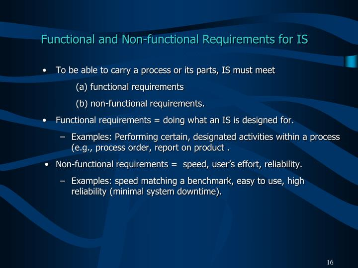 Functional and Non-functional Requirements for IS