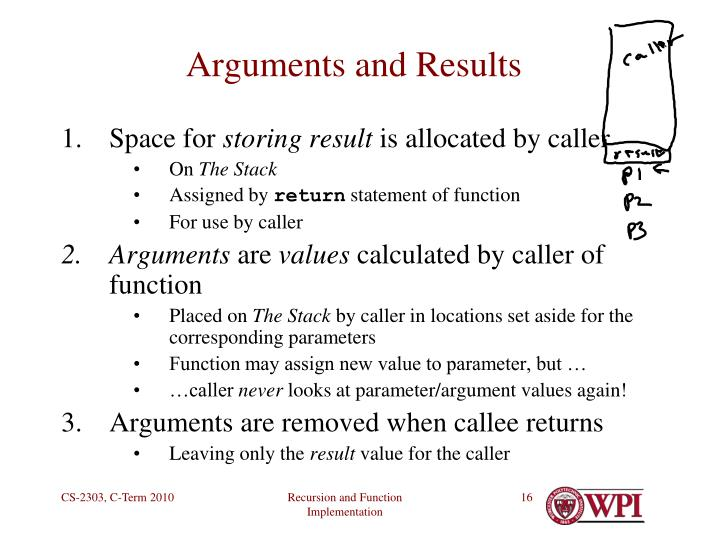 Arguments and Results