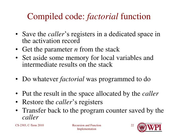 Compiled code: