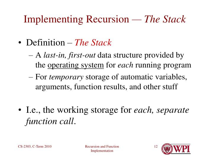 Implementing Recursion