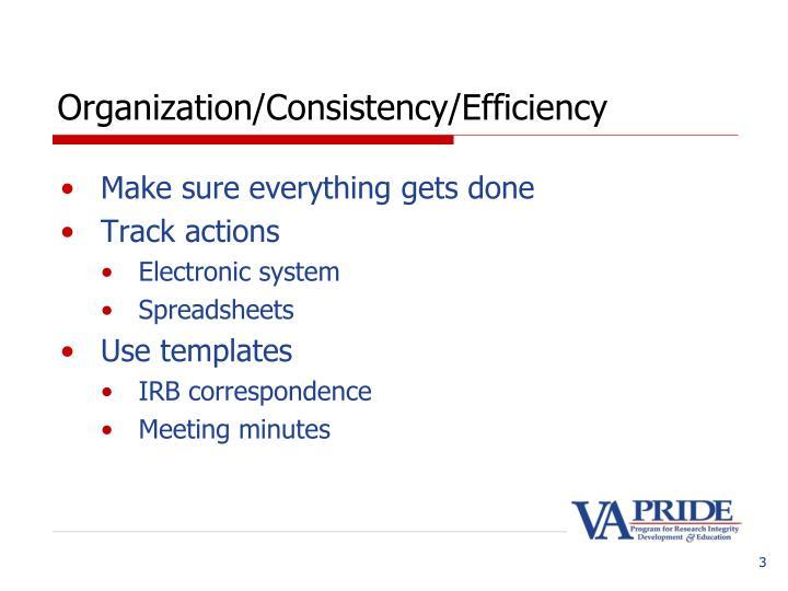 Organization consistency efficiency