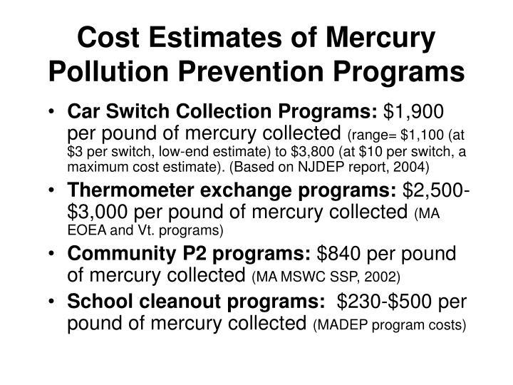 Cost Estimates of Mercury Pollution Prevention Programs
